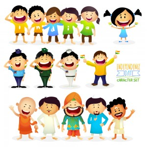 """Cute Characters as Kids wearing t-shirts making word India, Different Religion People showing """"Unity in Diversity of India"""" and Saluting Armed Force Officers, Indian Independence Day celebration."""