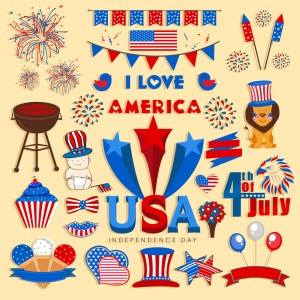 Set of various elements in national flag colors for 4th of July, American Independence Day celebration.