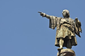 Christopher Columbus Day Statue Pointing with Space